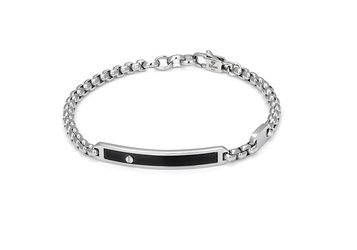 Bracelet with stainless steel chain and black PVD plate with steel screw