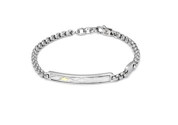 Bracelet with chain in stainless steel and 18Kt gold (gr.0,04)