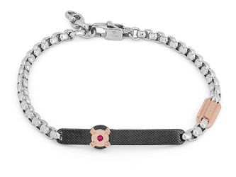 Steel bracelet with chain and knurled plate in black PVD and Natural Ruby (0.027 ct)