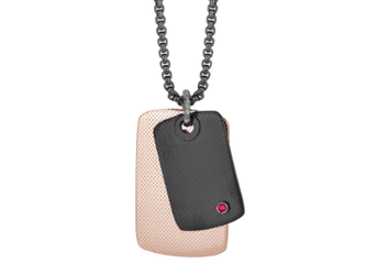Black PVD steel necklace, black and rosé PVD knurled plates with Natural Ruby (0.027 ct)