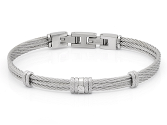 Bracelet with steel cable with bands and central steel screw