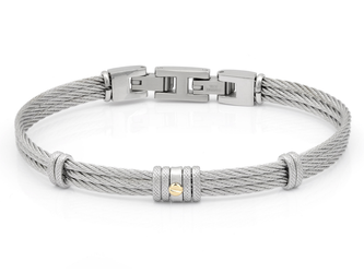 Bracelet with steel cable with central gold screw in 18Kt (gr 0.03)
