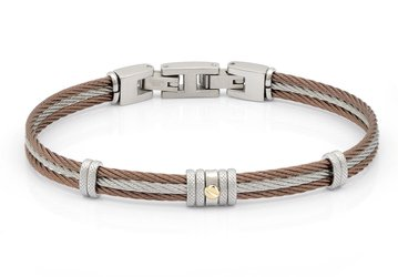 Bracelet with brown and white PVD steel cable with central gold screw in 18Kt (gr 0.03)