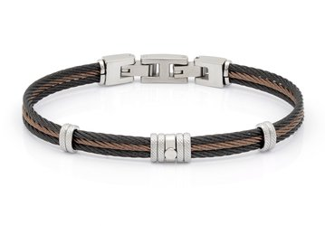 Bracelet with brown  PVD and white steel cable with central steel screw