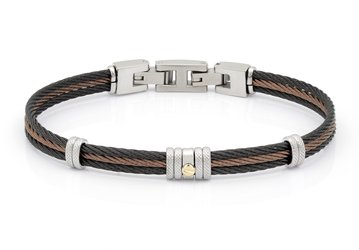 Bracelet with black and brown PVD steel cable with central gold screw in 18Kt (gr 0.03)