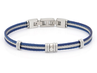 Bracelet with blue and white PVD steel cable with central steel screw