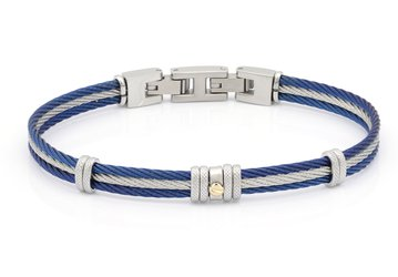 Bracelet with blue and white PVD steel cable with central gold screw in 18Kt (gr 0.03)