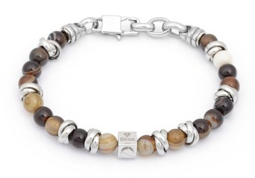 Stainless steel bracelet with natural Agate Brown stones