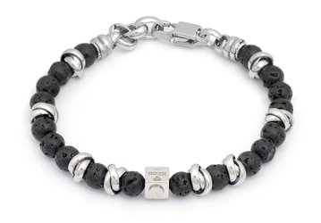 Stainless steel bracelet with natural Agate Lava stones