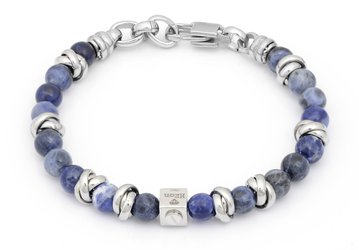 Stainless steel bracelet with natural Sodalite stones