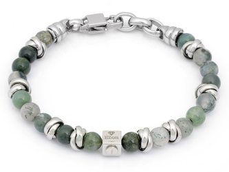 Stainless steel bracelet with natural Musk Agate stones