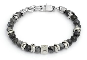 Stainless steel bracelet with natural Labradorite stones
