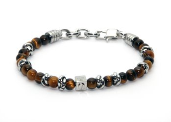 Stainless steel bracelet with natural Tiger Eye stones