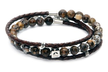 Stainless steel bracelet with natural Jasper stones and a double turn brown leather braid