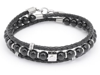 Stainless steel bracelet with natural Onyx stones and a double twisted black leather braid