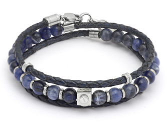 Stainless steel bracelet with natural Sodalite stones and a double turn blue leather braid