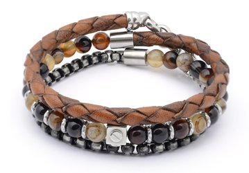 Stainless steel bracelet with natural brown Agate stones with leather and chain