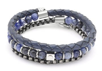 Stainless steel bracelet with natural Sodalite stones with leather and chain