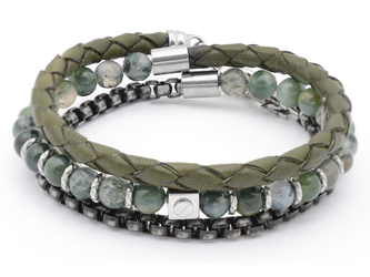 Stainless steel bracelet with natural Musk Agate stones with leather and chain