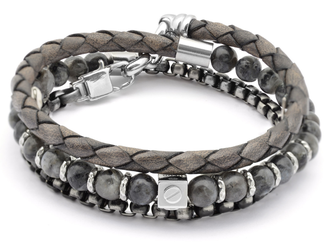 Stainless steel bracelet with natural Labradorite stones with leather and chain