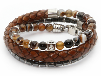 Stainless steel bracelet with natural Agate Brown and Hematite stones with brown braided leather