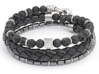Stainless steel bracelet with natural Lava and Hematite stones with black braided leather