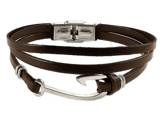 Stainless steel bracelet and double brown leather with steel hook