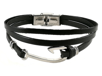Stainless steel bracelet and double black leather with steel hook