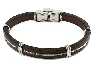 Stainless steel and brown leather bracelet and central steel cable