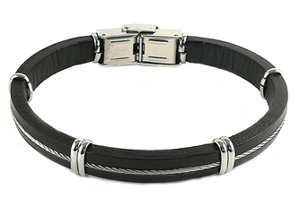 Stainless steel and black leather bracelet and central steel cable