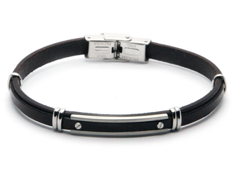 Stainless steel and brown leather bracelet with central steel plate