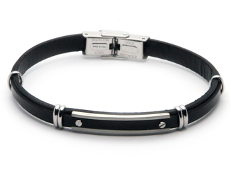 Stainless steel and black leather bracelet with central steel plate