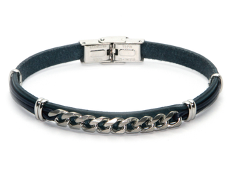 Stainless steel and blue leather bracelet with central steel chain