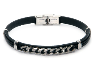 Stainless steel and black leather bracelet with central steel chain