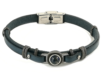 Stainless steel and blue navy leather bracelet with LAPISLAZZULI natural stone