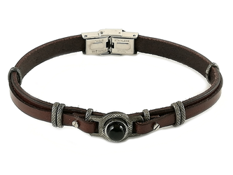 Stainless steel and brown leather bracelet with natural Onyx stone