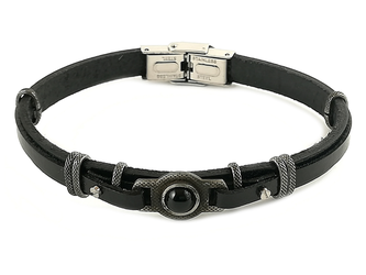 Stainless steel and black leather bracelet with natural Onyx stone