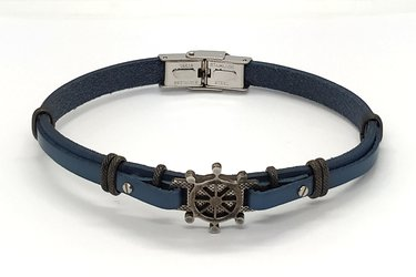 Stainless steel and blue navy leather bracelet with vintage steel rudder