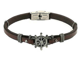 Stainless steel and brown leather bracelet with vintage steel rudder