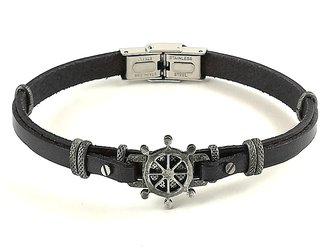 Stainless steel and black leather bracelet with vintage steel rudder
