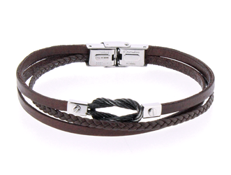 Stainless steel and brown leather bracelet and vintage black steel knot