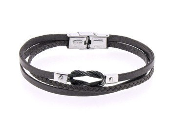 Stainless steel and black leather bracelet and vintage black steel knot