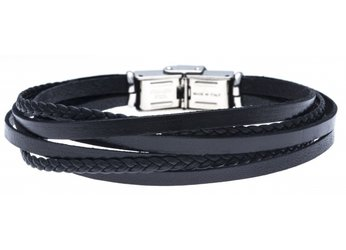 Stainless steel and leather bracelet with multi-strand black braid