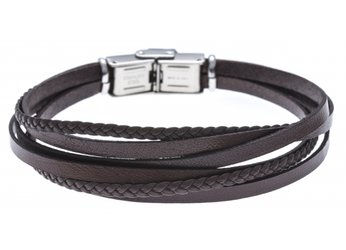 Stainless steel and leather bracelet with multi-strand brown braid