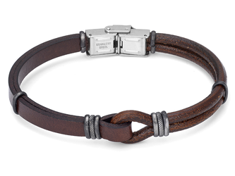 Stainless steel bracelet with brown leather and vintage black bands