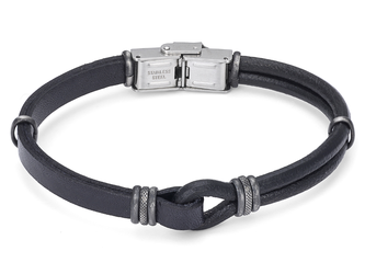 Stainless steel bracelet with black leather and vintage black bands