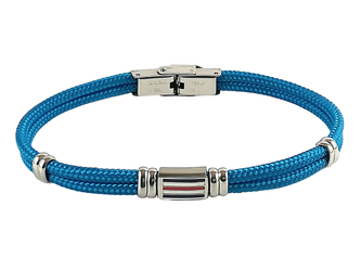 Stainless steel bracelet and light blue nautical rope and central enameled flag