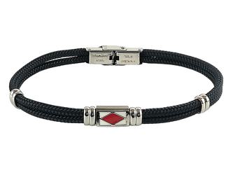 Stainless steel bracelet and blue nautical rope with central enameled flag