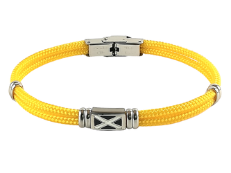 Stainless steel bracelet and yellow nautical rope with central enameled flag