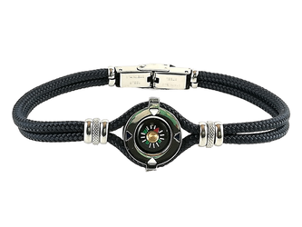 Stainless steel bracelet and blue nautical rope with central compass